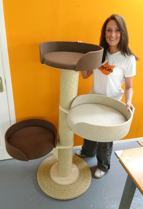 Modular Cat Tower System with 3 Scratching Post Sections and 3 Large Beds | ScratchyCats