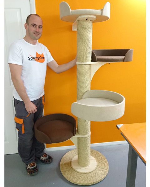 Modular Cat Tower Scratching Post System with Large Beds