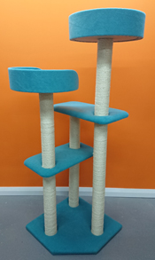 large cat tree finished in teal
