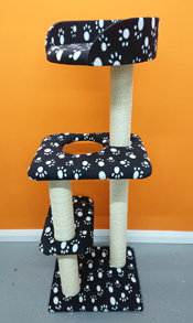 4ft cat tree finished in black with white paw prints