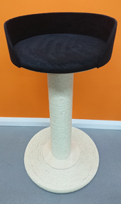giant cat scratching post with large black bed
