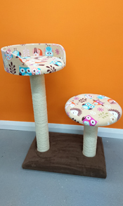 bespoke cat scratching post with bed and platform