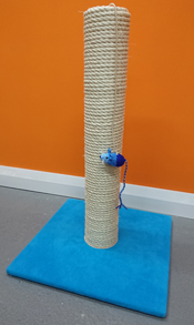 blue cat scratching post