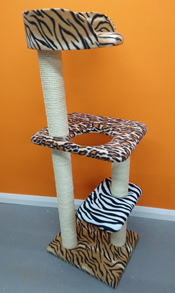 quality multi-coloured cat tree with bed