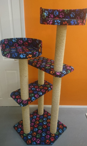 Black with Coloured Paws Cat Scratching Post | ScratchyCats