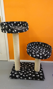 Black with White Paws Cat Scratching Post | ScratchyCats