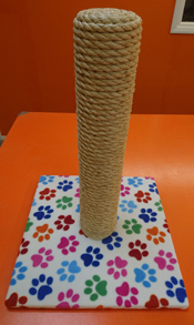 White with Coloured Paws Cat Scratching Post | ScratchyCats