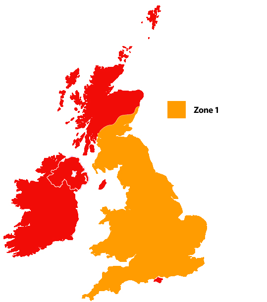 UK Mainland Zone 1 Map
